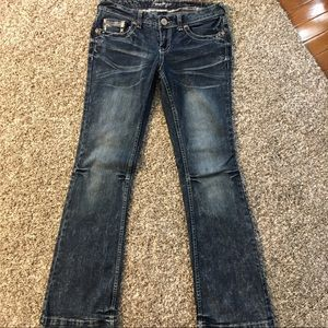 Acid washed amethyst blue jeans. Cute and trendy!